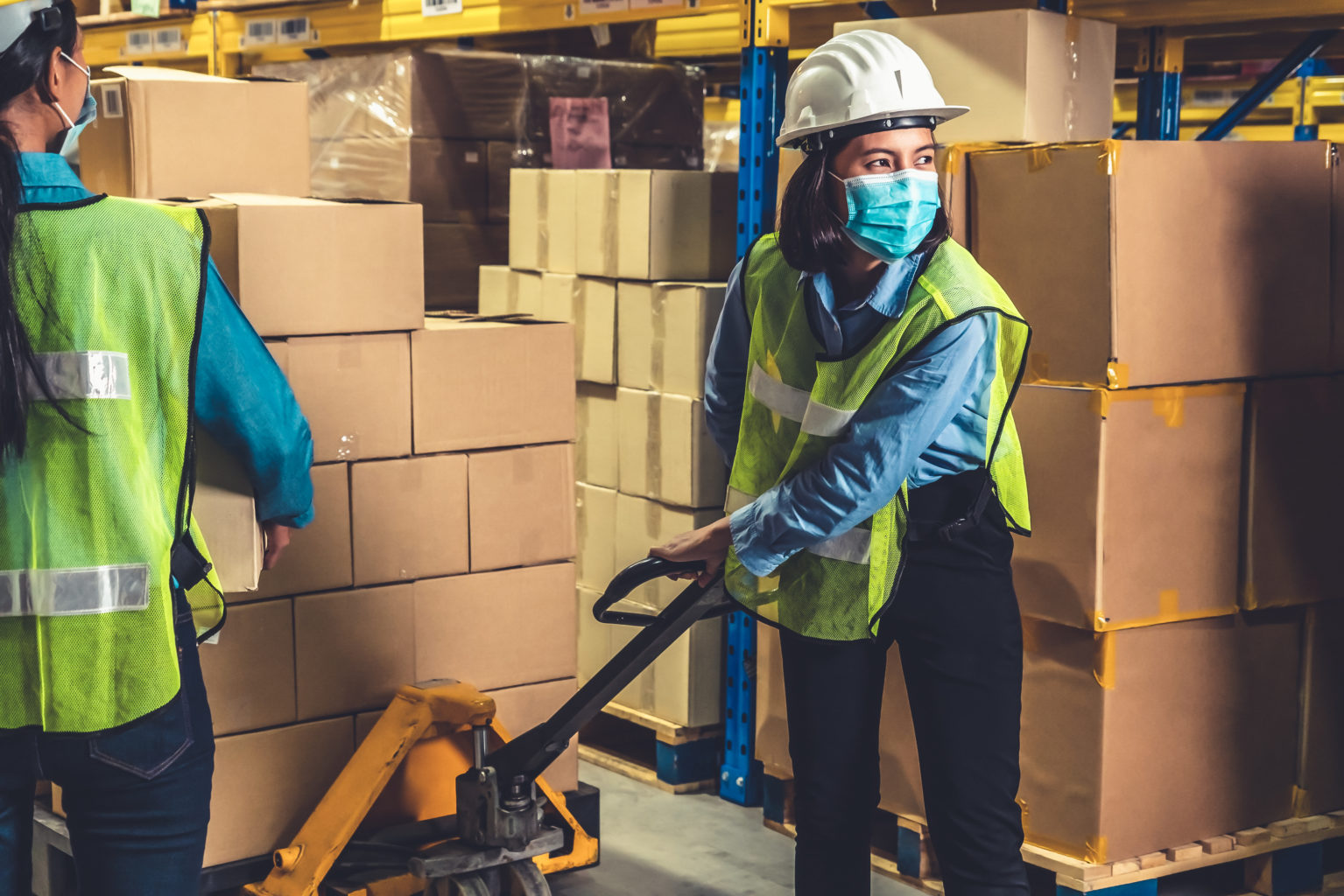 Factory Industry Worker Working With Face Mask To Prevent Covid 19